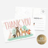 50 4x6 Girl or Boy Woodland Baby Shower Thank You Note Card Bulk Set