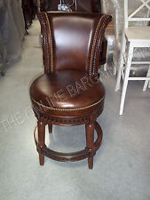 Frontgate Manchester COUNTER Height Leather Barstools Stools Chairs LIT Mahogany