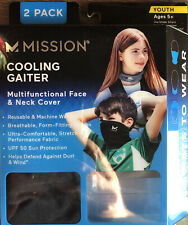 Mission Cooling Neck GAITER Face/neck Cover Youth Age 5 Black/blue Camo 2-pack