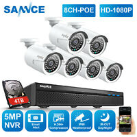 SANNCE 8CH 5MP POE NVR Home 6pcs 1080P HD Security IP Camera System Video Audio