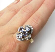 Simulated Tanzanite & Diamond 18K Yellow Gold over SILVER Ring size 8.25