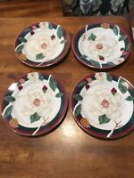 "Set of 4 Tienshan Fairfield Fine China Magnolia Pattern 8"" Salad Plates EC"