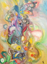 Abstract fantasy oil painting signed