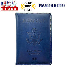 Leather Passport Cover Protector ID Case Card Holder Travel Wallet Deep Blue US