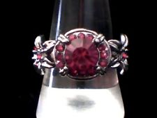 """""""NEW"""" Fashion Creation to Impress! Red Created Agate in Antiqued Steel Size 10"""