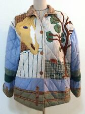 Womens reversible barn jacket wood button up quilt Horse equestrian country M L