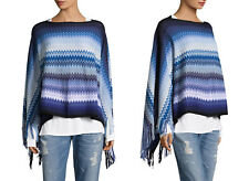 Missoni Blue Multi Zig Zag Wool-Blend Asymmetrical Poncho  Italy,  $350