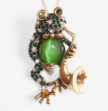 Green/white Austrian crystal Musical Frog (saxophone) pendant/brooch with chain