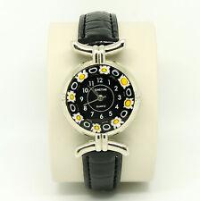 Murano Glass Quartz Watch from Venice with Millefiori and Black Strap