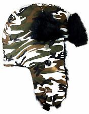 Dakota Dan White Camo Winter Trapper Hat Faux Black Fur Trim with Ear Flaps