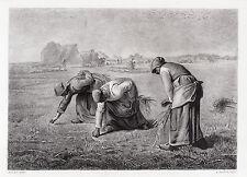 "Fabulous Jean-Francois MILLET 1800s Engraving ""The Gleaners"" FRAMED Signed COA"
