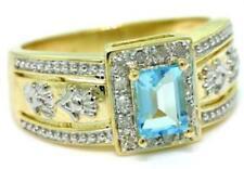 Aquamarine & 14 Diamond 9K 9ct 375 Solid Gold Ring Genuine Real