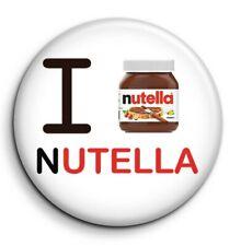 Badge Epingle 38mm métal Button Pin I love nutella j'aime gros pot blanc cuisine