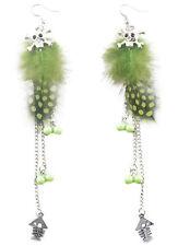 F2035 green Feather bead silver tone chain skull fish bone dangle earrings New