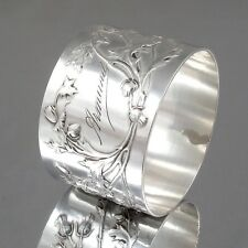 Antique French Sterling Silver Napkin Ring Thistle Hallmark Minerve 1, Boulenger