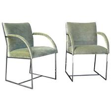 Pair Of Mid Century Modern Chrome Upholstered Armchairs By Milo Baughman