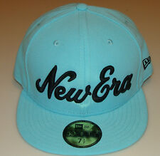 New Era Cap Hat 7 1/2 Fitted 59fifty Logo Branded Teal WordMark Custom BallCap