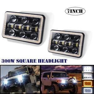 "2PCS 7"" 300W Off-road LED Work Light Car Angel Eye W/Aperture Flood Driving Lamp"