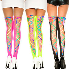 Rainbow Ribbon Lace Up Thigh High Stockings Pride Raver Black Neon Green Pink OS