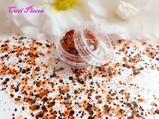 Nail Art Halloween *BonFire* Orange Black Chunky Hexagon Mix Spangle Glitter Pot