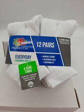 Fruit of the Loom Men's Half Cushion Ankle Sock - 6-12 White , Pack of 12