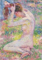 "perfect 24x36 oil painting handpainted on canvas""seated nude""@15165"