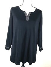Karen Scott Woman Studded Split Neck Top Sz 1X  3/4 Sleeve Black 100% Cotton