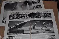 1961 Thiokol Rockets 2-page advertisement x2, THIOKOL, US ARMY Redstone Nike etc