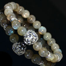 New 8mm Natural Labradorite Silver Lion Head Elastic Beaded Bracelet 7.5