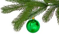 SHINY GREEN BALL ORNAMENTS CHRISTMAS TREE HANGING INDOOR OUTDOOR 70MM 1 DZ