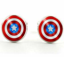 Men's Shirt Glass Captain America Shield Silver Brass Copper Cufflinks Cuff Link