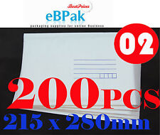 200x Bubble Mail #02 215X280MM Padded Bag Envelope 2 215mm x 280mm BM2 PB3 Size