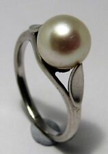 100% Genuine Vintage 18ct Solid White Gold Natural Pearl Ring Size 6.5