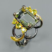 Vintage style  Natural Green Amethyst 925 Sterling Silver Ring Size 8/R94140