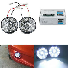 2x bright 9 LED Round Daytime Driving Running Light DRL Car Fog Lamp Head Lights