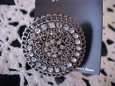 Costume Jewelry Ring Sapphire Silvertone Rhinestones Stretchable Band New