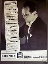 1946 Rudolf Serkin photo Columbia Masterworks Record ad