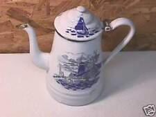 Antique Enamelware Coffee Pot Dutch Farm Scene Windmill