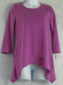Calvin Klein Performance Women's Active 3/4 Sleeve Yoga Top, Purple, Small S