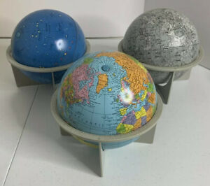 """Vintage Replogle 6"""" Tin Litho Globe Set: Moon, Earth & Constellations W/ Stands"""
