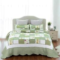 3 Piece Reversible Coverlet Bedspread Quilt Ruffle Set Soft Twin Queen King