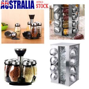 Rotating Spice Rack Stand Carousel 6, 16 Glass Jars kitchen Seasoning Holder AU