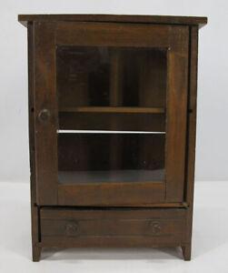 "Antique Miniature 11"" Salesman Sample 2 Shelf 1 Drawer Glass Front Cabinet yqz"
