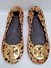 TORY BURCH $250 Reva cheetah print gold metal logo detail ballet flats shoes 6