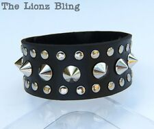 Gothic Punk Black Leather Wide Band Bracelet w/ Rounded Silver Spikes & Studs