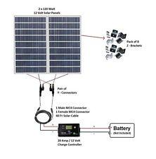 240W Watt 12V Volt Solar Panel Kit RV Camping Off Grid Battery Boat Photovoltaic