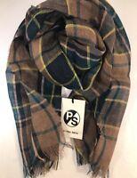 Paul Smith Men Scarf Linen Check Made In Italy Khaki