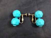 Blue Sphere & Brass Clip Earrings Double Ball Turquoise Accessories