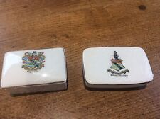 2 pieces Crested China Bridlington Coat Arms East Yorkshire Lidded Boxes Box