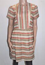 Memory Onward Vintage Retro Style Striped Short Sleeve Day Dress Size L #Vin
